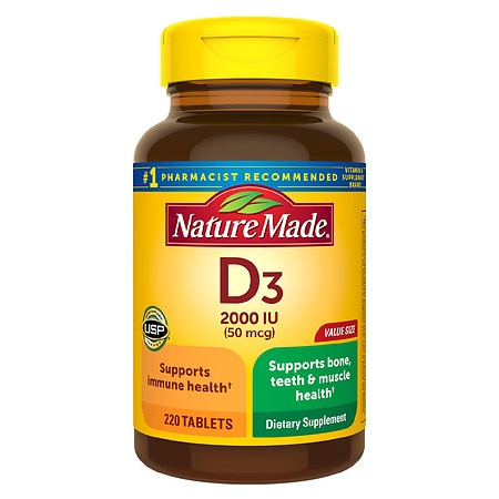 Nature Made D3 2000 IU Vitamin Supplement Tablets - 220 ea
