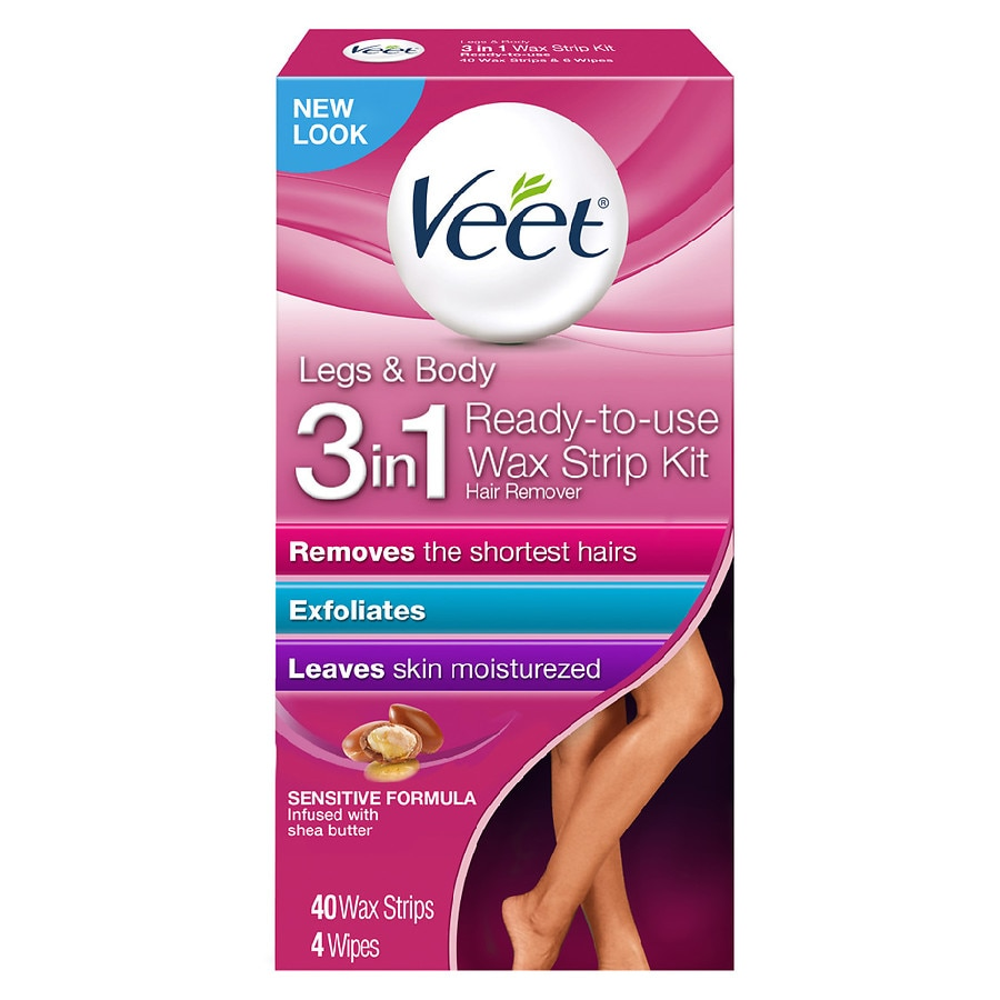 Veet Legs Body Wax Strip Kit Ready To Use Hair Remover Walgreens