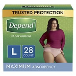 Depend Incontinence Underwear for Women, Maximum Absorbency Large Peach