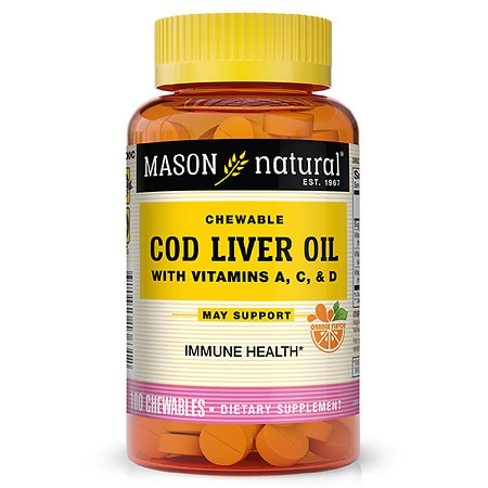 Mason Natural Cod Liver Oil, Chewable Tablets Orange