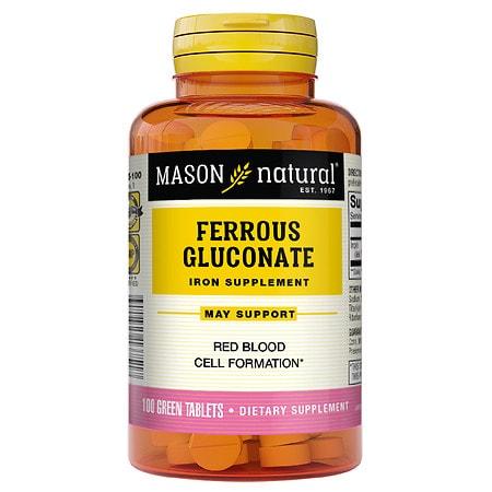 Mason Natural Ferrous Gluconate, Green Tablets - 100 ea