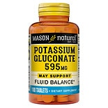 Mason Natural Potassium Gluconate, 595mg, Tablets