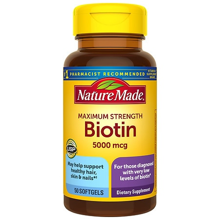 Nature Made Biotin 5000 mcg Dietary Supplement Liquid Softgels