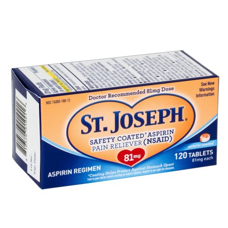 St. Joseph Safety Coated Aspirin Tablets, 81mg - 120 ea