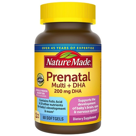 Nature Made Prenatal Multi + DHA Dietary Supplement Liquid Softgels - 60 ea