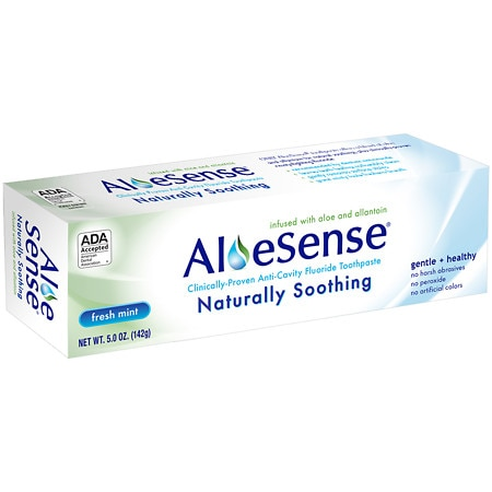Aloesense Naturally Soothing, Clinically-proven Anti-cavity Fluoride Toothpaste Fresh Mint, Family Size 5 Oz.