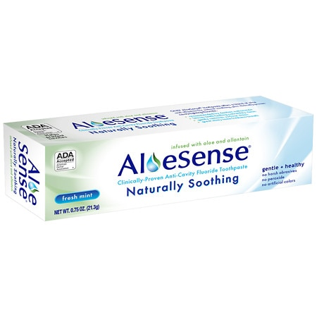 Image of AloeSense Naturally Soothing, Clinically-Proven Anti-Cavity Fluoride Toothpaste Fresh Mint, Travel Size - 0.75 oz.
