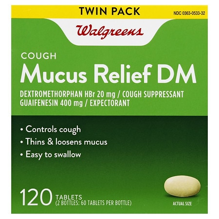 Walgreens Mucus Relief DM Cough Immediate-Release Tablets - 120 ea