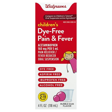 Walgreens Children's Pain Relief Suspension Liquid Dye-Free Bubblegum