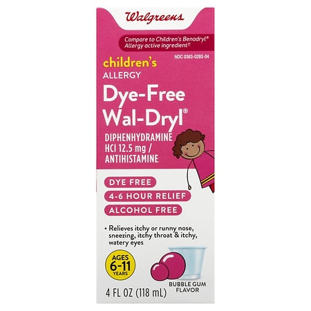 Walgreens Wal-Dryl Children's Allergy Oral Solution Dye-Free Bubble Gum