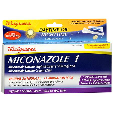 Walgreens Miconazole 1 Vaginal Antifungal Combination Pack, Day or Night - 1 ea