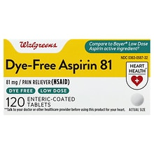 Walgreens Dye Free Aspirin Low Dose 81 Mg Enteric Coated Tablets Walgreens