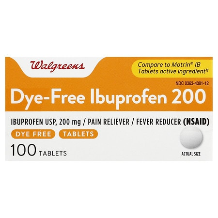 Walgreens Ibuprofen 200 Mg Tablets Color Free Dye