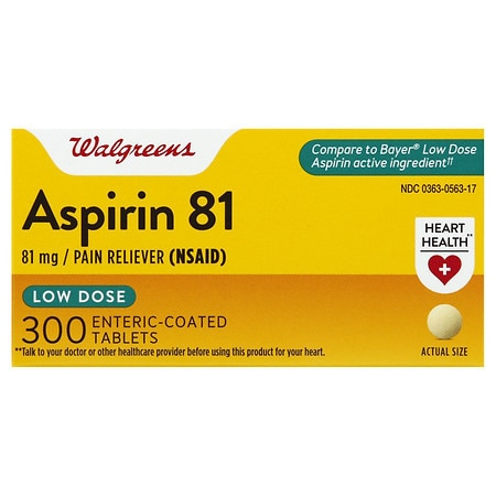Walgreens Aspirin Low Dose 81 mg Enteric Coated Tablets - 500 ea