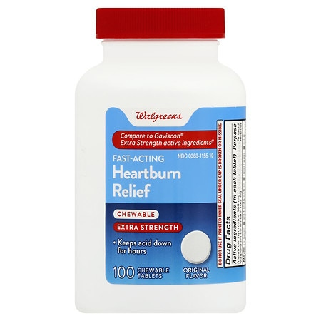 Walgreens Heartburn Antacid Chewable Tablets Extra Strength