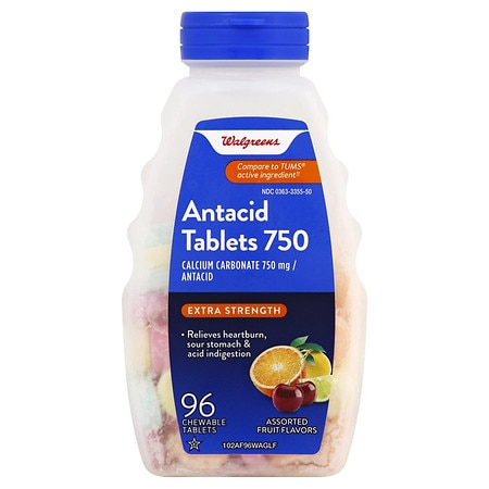 Walgreens Extra 750 mg Chewable Antacid/Calcium Supplement Tablets Assorted - 96 ea