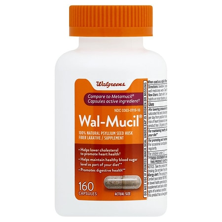 Walgreens Wal-Mucil Fiber Laxative/Supplement Capsules
