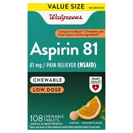 Walgreens Low Dose Aspirin 81 mg Chewable Tablets Orange - 108 ea x 3 pack