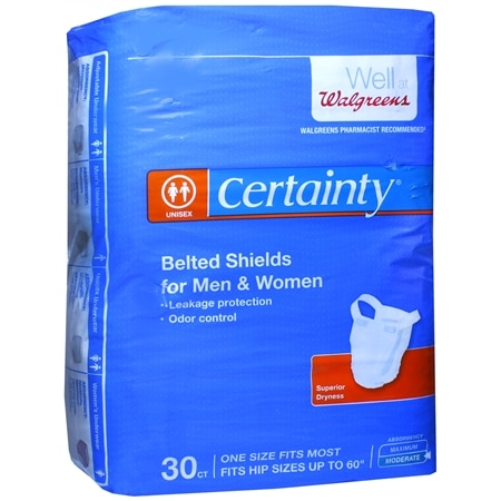 Walgreens Certainty Belted Shields with Hooks & Loop Fasteners One Size - 30 ea