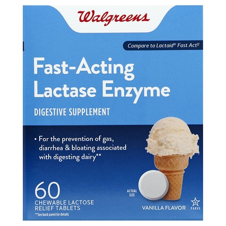 Walgreens Lactose Fast Acting Relief Chewable Tablets - 60 ea