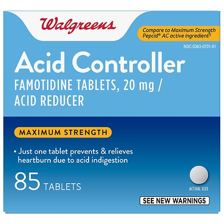 Walgreens Acid Controller and Acid Reducer Tablets Maximum Strength - 85 ea