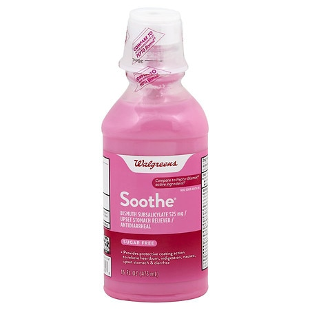 Walgreens Soothe Upset Stomach Reliever/Antidiarrheal Liquid Original - 16 oz.