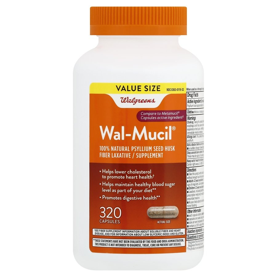 Walgreens Wal Mucil Fiber Laxative Supplement Capsules