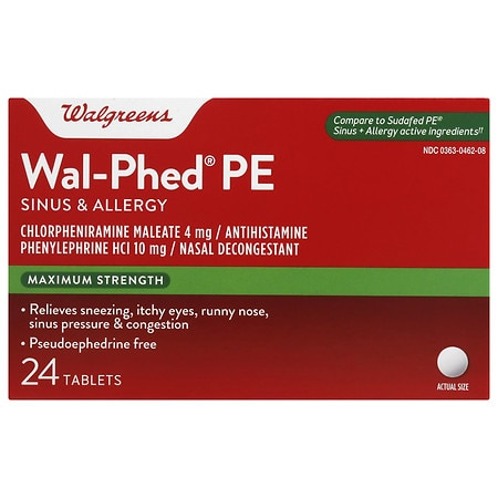 Walgreens Wal-Phed PE Sinus & Allergy Tablets