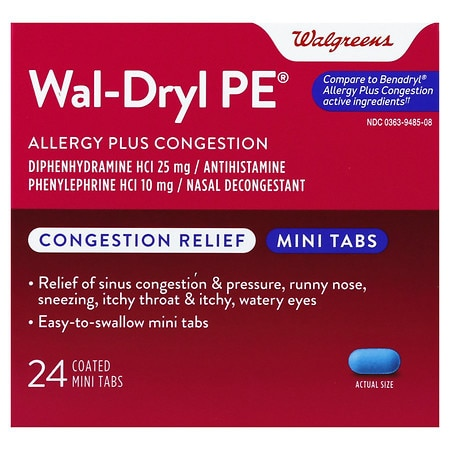 Walgreens Wal-Dryl PE Allergy & Sinus, Coated
