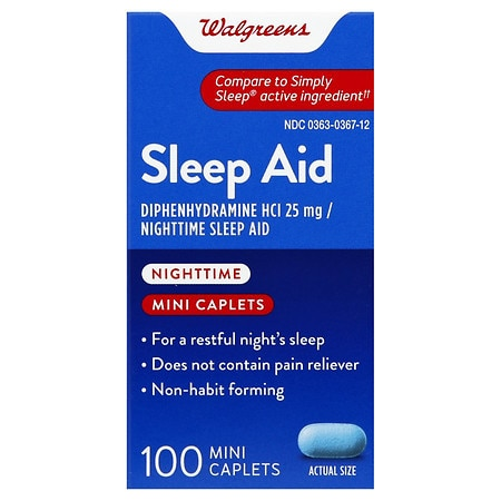Walgreens Nighttime Sleep Aid Mini-Caplets - 100 ea