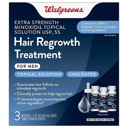 Walgreens Minoxidil Hair Regrowth Treatment For Men Extra Strength 3 pk