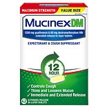 MucinexDM DM 12 Hour Expectorant & Cough Suppressant Extended-Release Bi-Layer Tablets