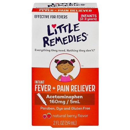 Little Remedies Infant Fever/Pain Reliever Acetaminophen, Dye-Free Berry - 2 fl oz