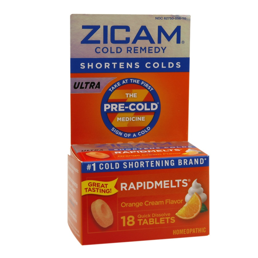 Zicam Ultra Cold Remedy Bi-Layer RapidMelts Quick Dissolve Tablets Orange  Cream Flavor