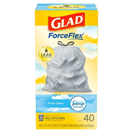 Glad OdorShield Tall Kitchen Drawstring Trash Bags Fresh Clean,13 Gallon