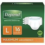 Depend Incontinence Protection with Tabs, Maximum Absorbency, L Large