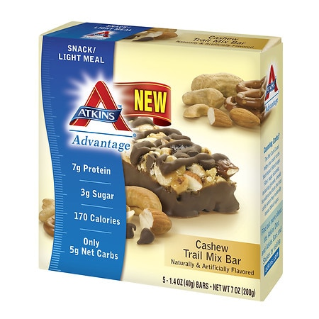 Atkins Advantage Snack Bars Cashew Trail Mix, 5 pk