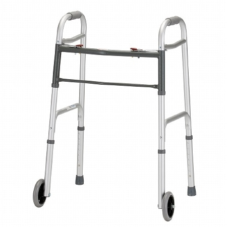 Nova Folding Walker 5 inch Wheels Dual Button Release - 1 ea