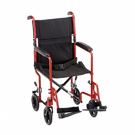Nova Transport Chair with Fixed Arms 19 inch - 1 ea