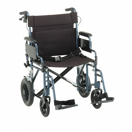Nova Transport Chair with Hand Brakes and Swing Away Footrests 22 inch - 1 ea