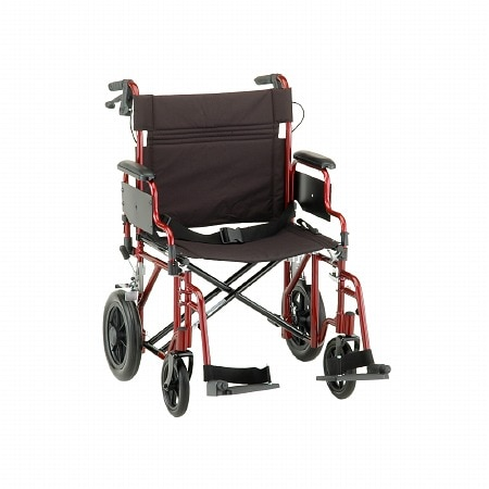 Nova Transport Chair with Hand Brakes and S/A Footrests 22 inch Red