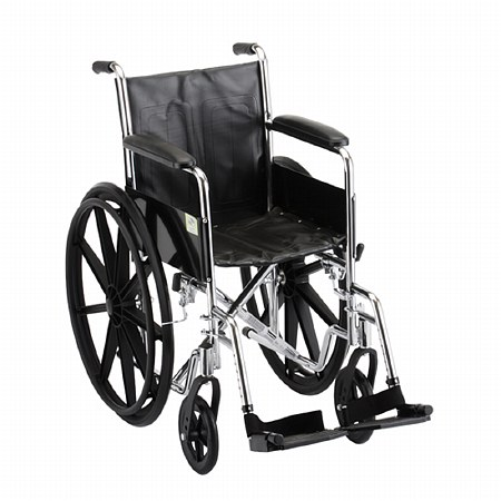 Nova Steel Wheelchair Fixed Arm and Swing Away Footrests 16 inch - 1 ea