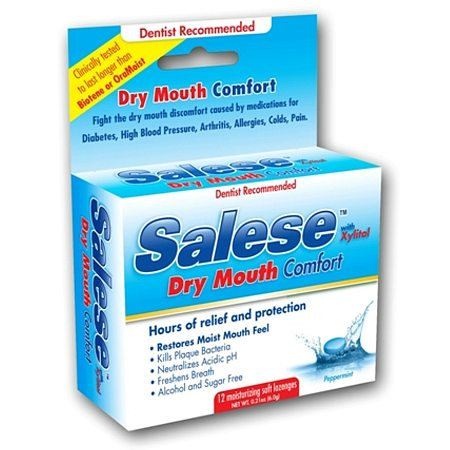 Salese Original, Hours of Dry Mouth Relief, Moisturizing Lozenges Peppermint - 12 ea