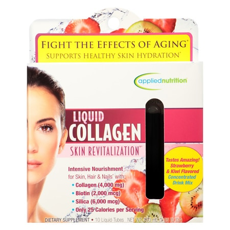 Applied Nutrition Liquid Collagen Skin Revitalization, Liquid-Tubes Strawberry & Kiwi - 10 ea
