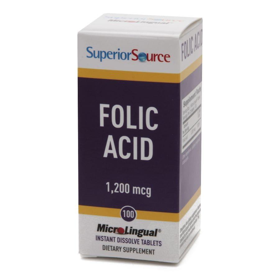Superior Source Folic Acid 1200mcg Extra Strength, Dissolve Tablets