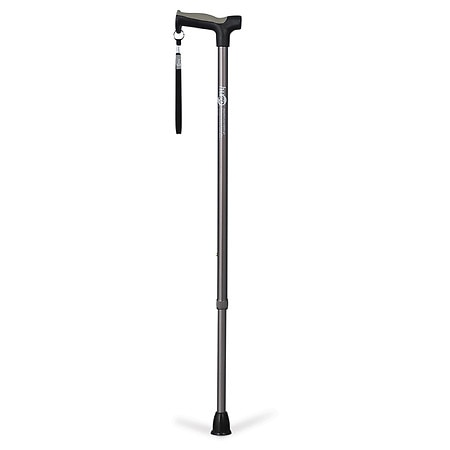 Hugo Adjustable Derby Handle Cane with Reflective Strap Smoke