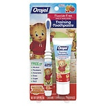 Orajel Toddler Daniel Tiger﾿s Neighborhood Fruity Stripes Training Toothpaste with Toothbrush Tooty Fruity