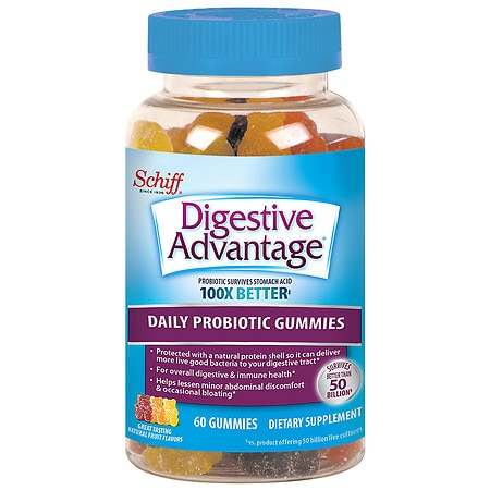 Schiff Digestive Advantage Probiotic, Gummies Patented BC30 Bacillus Coagulans Million Viable Cells per GummySurvives x Better than Yogurt and Leading ProbioticsSupports Long Term Digestive HealthNatural Apple, Cherry, Grape, Lemon, Orange, and Strawberry Flavors.