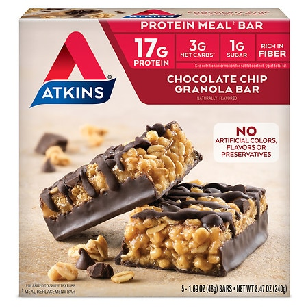 Atkins Advantage Meal Bars Chocolate Chip Granola - 1.7 oz. x 5 pack