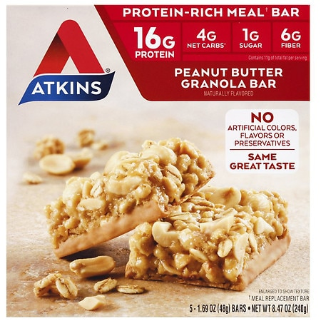 Atkins Advantage Meal Bars Peanut Butter Granola, 5 pk